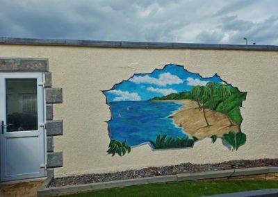 Beach view garden mural