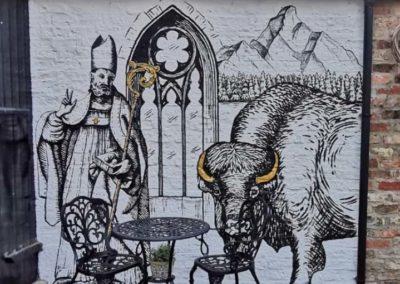 Hotel courtyard mural