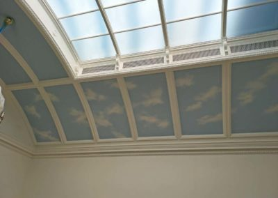 Clouded panel ceiling