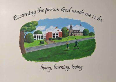 School motto mural