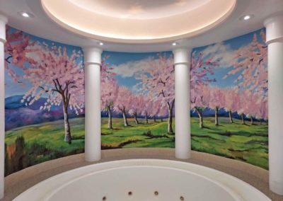 Cherry blossom spa mural