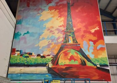 Eiffel Tower mural for warehouse