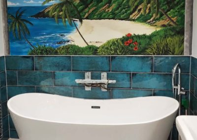 Tropical bathroom mural
