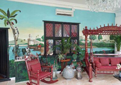 Tropical mural in an Orangery